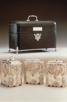 This set of a pair of Tea Caddies and a Sugar Box was made for Charles, 1st Marquess Cornwallis (1735-1805).  London, 1751–52, Marked by: Paul de Lamerie. : Struck under base with hallmarks (leopard's head, lion passant, date letter for 1751-2) and with maker's mark of Paul de Lamerie.