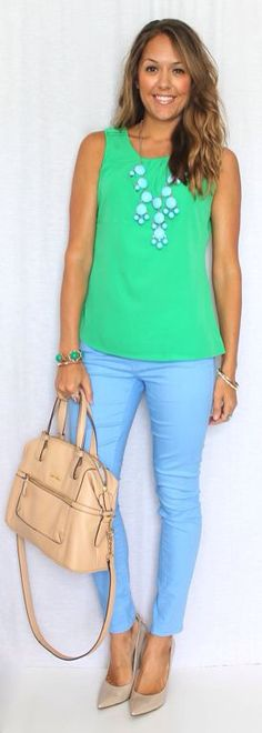 Love the vivid colors. I wouldn't do them in 1 outfit. Prefer mixing with neutrals. Like be necklace.
