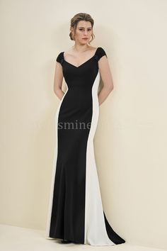 Jasmine Bridal | Jade Style J195054 in Black/Ivory | Stretch Crepe with Stretch lining | Two-Tone Dress | A-Line | Cap Sleeves