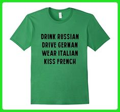 Mens Drink Russian Drive German Wear Italian Kiss French T-Shirt Small Grass - Food and drink shirts (*Amazon Partner-Link)