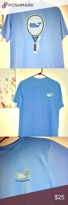 """Vineyard Vines """"Teenis Racquet Performance Tshirt"""" Bought brand new at Vineyard Vines Store. Perfect Condition and never worn! An 'Ace' of a T-Shirt. Serves up performing, breathable comfort and wicks away moisture. A  refreshing one of a kind shirt  you can add to your collection! Blue with Lime green accents Vineyard Vines Shirts Tees - Short Sleeve"""