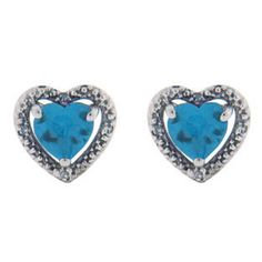 Diamond Heart Shaped Blue Topaz Birthstone Sterling Silver Earrings Available Exclusively at Gemologica.com