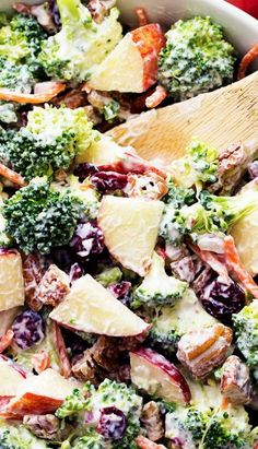 Broccoli Apple Salad. (heather) use brocolli-Brussel-kale slaw instead of brocolli florets.