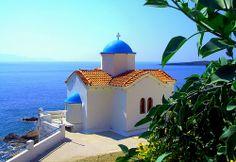 Chapel overlooking the sea. Small blue-domed church on the water edge. Johnny Be Good, Acropolis, Macedonia, Ancient Greece, Greek Islands, Ocean Beach, European Travel, Montenegro, Croatia