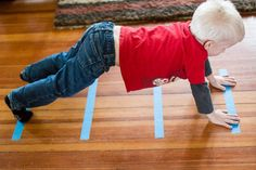 One roll of tape, 6 lines on the ground, 5 activities (and I bet you can come up with more!).  Great boredom busters for toddlers or even school-age kids on a rainy day with no recess