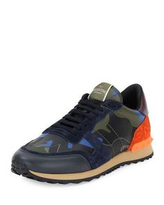 N3XRH Valentino Rockrunner® Leather Camo-Print Trainer Sneaker, Multicolored