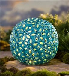 Lighted Ceramic Flower Globe