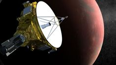 PHOTO: A drawing shows the New Horizons spacecraft approaching Pluto and its largest moon, Charon, in July 2015.