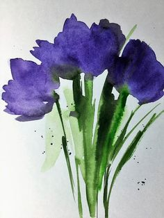 Purple Flowers Art Print featuring the painting 4 Purple Flowers by Britta Zehm