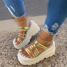 Flat With Line-Style Buckle Open Toe Letter Print Sandals – lokeeda Peep Toe Wedges, Wedge Sandals, High Sandals, Heeled Sandals, Fashion Sandals, Sneakers Fashion, Summer Wedges, Summer Sandals, Summer Shoes