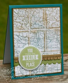 Stamps: World Map, Starburst Sayings  Paper: Island Indigo, Baked Brown Sugar, Pear Pizzazz, Whisper White  Ink: Island Indigo, Baked Brown Sugar, Pear Pizzazz  Accessories: Big Shot, Starburst Framelits, Scalloped Edge Border Punch, Baked Brown Sugar Ribbon(retired)