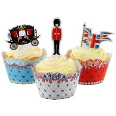 Jubilee party cakes. We really like the idea of sticking cardboard cut-outs of London-based things into the top :)