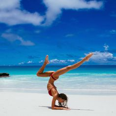 A dream place to do your yoga.She is phenomenally fit.