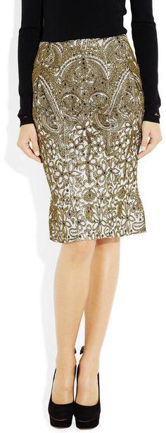 Zac Posen Metallic Brocade Pencil Skirt