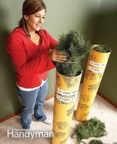 "Store small artificial tree(s) in concrete form tubes: Use 8"" diameter concrete form tube, wrap the tree in twine and store in tube. Mark each tube and stow in the garage rafters."