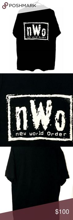 Vtg NWO T-Shirt New World Order Wrestling Men's L Amazing find! From a large collection of vintage new never worn wrestling and NASCAR t-shirts. This is the real deal and will make a great addition to your collection. NWO shirt with graphics on front only. Men's size LARGE. Measurements: armpit to armpit: 21  inches length:  31 inches T-America Shirts Tees - Short Sleeve