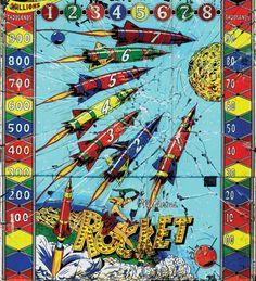 Mystic Pinball, Vintage Pinball Machines • Williams Rocket woodrail pinball, backglass...