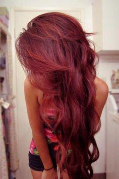 Long red hair
