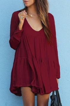 Red U Neck Long Sleeve Loose Dress