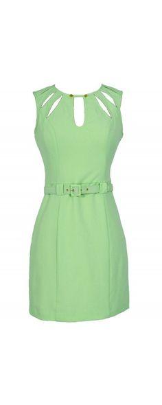 Key Lime Cutout Belted Designer Sheath Dress