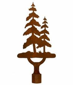Large Pine Tree Metal Lamp Finial