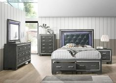 Shop for Titanium King Bedroom Set starting at at our furniture store located at 6694 Dawson Blvd, Norcross, GA 30093 King Bedroom Sets, Queen Bedroom, Home Bedroom, Modern Bedroom, Bedroom Furniture, Grey Headboard, King Beds, Bedroom Storage, Living Room