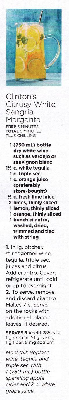 Clinton's Citrusy White Sangria Margarita
