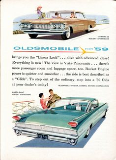 Vintage Cars Classic Oldsmobile 1959 Linear Look - Mad Men Art: The Vintage Advertisement Art Collection - Oldsmobile 1959 Linear Look - Mad Men Art: The Vintage Advertisement Art Collection Motos Vintage, Vintage Motorcycles, Cars Usa, Us Cars, Pub Vintage, Vintage Stuff, Man Cave Wall Art, Roadster, Car Illustration