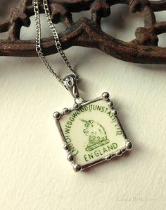 Broken china jewelry pendant necklace vintage Wedgwood china Unicorn backstamp green