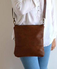 578de7d666c9 Distressed Cross Body Bag Purse Brown Bag Simple Purse Hip Bag