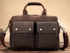 RETRO IMPORTED COW LEATHER MEN'S BUSINESS HANDBAG PORTABLE COMPUTER BAG R80