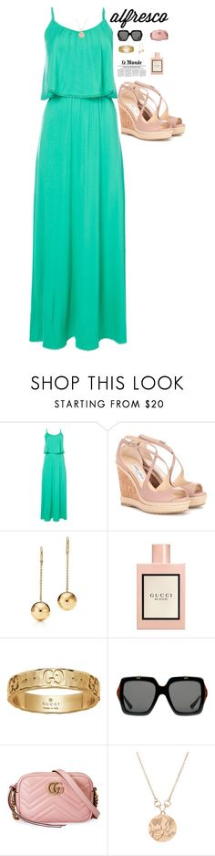 """""""Summer Alfresco"""" by perezbarrios on Polyvore featuring Jimmy Choo and Gucci"""