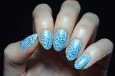Sheer blue nails transformed with MoYou London stamp! More info on my blog now!