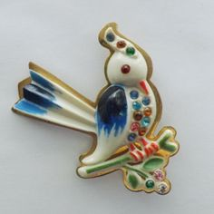 French Celluloid bird on branch pin w/rhinestones, hand painted on brass