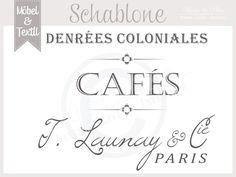 "Vintage Schablone ""Café-Paris * French Shabby von Basket & Pillow auf DaWanda.com"