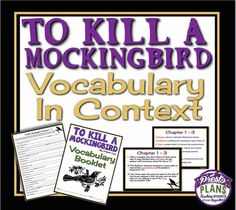 TO KILL A MOCKINGBIRD: Vocabulary In Context: Booklet & Presentation Common Core from Presto Plans on TeachersNotebook.com -  (45 pages)  - Have students practice determining the meaning of words by using context while teaching Harper Lee's award-winning novel To Kill A Mockingbird.