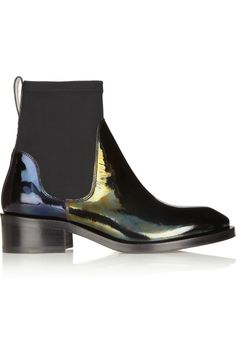 Acne | Comet leather and scuba-jersey ankle boots | NET-A-PORTER.COM