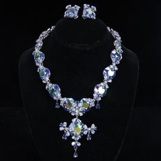 <b>Christian Dior 2pc. Designer Demi Parure; Blue Aurora Borealis Faceted Crystal Drop Necklace & Clip Earrings with pear shaped rhinestones.</b> 16""