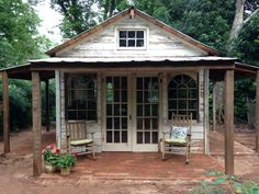 Fun She Shed Conversion Ideas Backyard Sheds, Outdoor Sheds, Diy Garden, Wooden Garden, Garden Ideas, Painted Garden Sheds, Cottage Garden Sheds, Shed Conversion Ideas, Greenhouse Shed