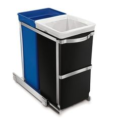 Which Simplehuman trash can should you buy? We recommend the Simplehuman Rectangular Step Trash Can Recycler. See more Simplehuman recycling bins Recycle Cans, Recycling Bins, Plastic Recycling, Reuse, Recycling Containers, Kitchen Cabinet Pulls, Kitchen Storage, Kitchen Styling, Ikea