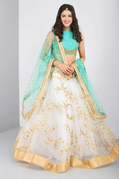 THE PEACH PROJECT - blue and ivory embroidered lehenga