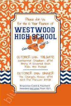 Reunion Invitation & Response Card Orange Damask & Blue Chevron by BluegrassWhimsy, $20.00