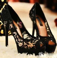 Black lace heels, peep-toe #shoes