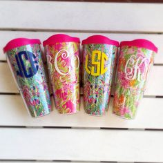 LILLY PULITZER MONOGRAMMED LARGE TUMBLER WITH LID