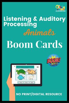 This multi-level Boom Deck helps you teach those listening and auditory processing skills while focusing on learning new animal vocabulary. This deck includes 3 different levels--single word identification, words in sentences, and words in longer sentences and short paragraphs. SLPs and Teachers of the Deaf can choose from having students listen to recorded audio, or reading the directions. Make your life easier and save time with this fun listening activity. #listening #deafeducation