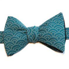Nœud papillon Eventail Bleu canard Peacock blue Japanese bow tie