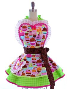 Retro Apron - Pink Cupcake Delight Sexy Womans Aprons - Vintage Apron Style - Bakery Pin up Kawaii Rockabilly Cosplay Lolita