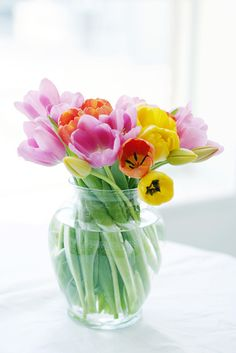 cheery bouquet of tulips...love the colors!