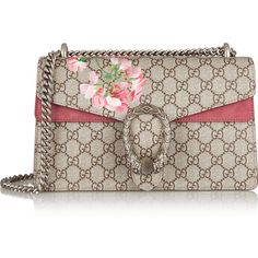 Gucci Dionysus Blooms small printed coated canvas and suede shoulder... (€1.750) ❤ liked on Polyvore featuring bags, handbags, shoulder bags, gucci, crossbody bag, neutrals, brown crossbody, brown shoulder bag, brown handbags and gucci handbags