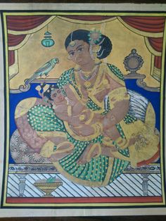 Mysore Painting, Tanjore Painting, Outline Drawings, Art Drawings, Buddhist Art, Traditional Paintings, Mother And Child, Indian Art, Goddesses